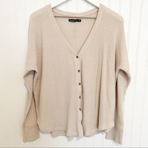 ABERCROMBIE button front long sleeve knit pullover blouse cardigan scoop medium
